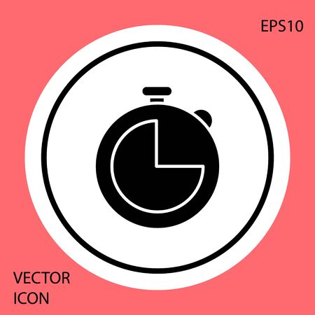 Black Kitchen timer icon isolated on red background. Cooking utensil. White circle button. Vector Illustration