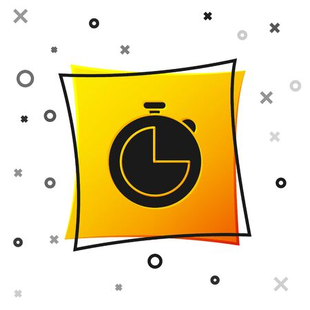 Black Kitchen timer icon isolated on white background. Cooking utensil. Yellow square button. Vector Illustration
