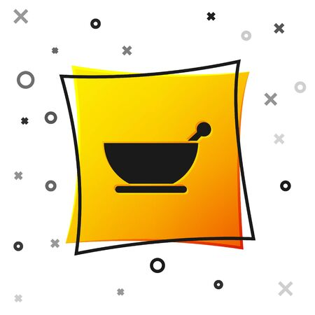 Black Mortar and pestle icon isolated on white background. Yellow square button. Vector Illustration
