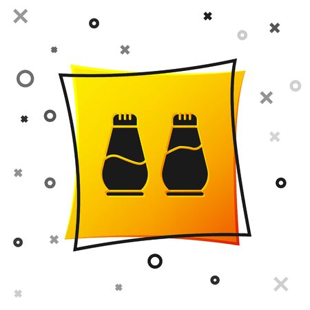 Black Salt and pepper icon isolated on white background. Cooking spices. Yellow square button. Vector Illustration