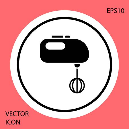 Black Electric mixer icon isolated on red background. Kitchen blender. White circle button. Vector Illustration Ilustrace