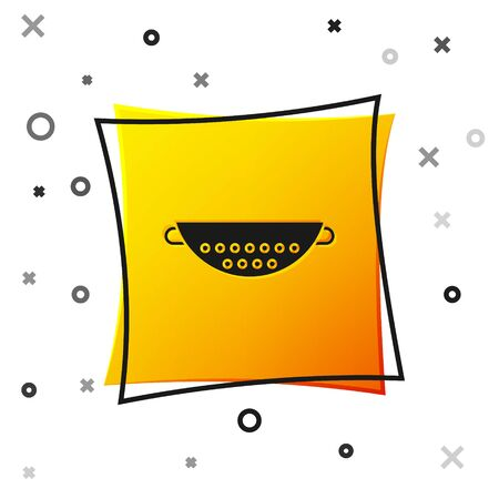 Black Kitchen colander icon isolated on white background. Cooking utensil. Cutlery sign. Yellow square button. Vector Illustration