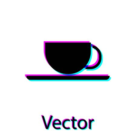 Black Coffee cup icon isolated on white background. Tea cup. Hot drink coffee. Vector Illustration