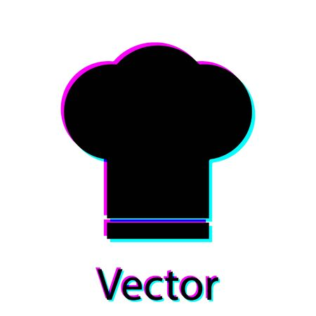 Black Chef hat icon isolated on white background. Cooking symbol. Cooks hat. Vector Illustration Ilustrace