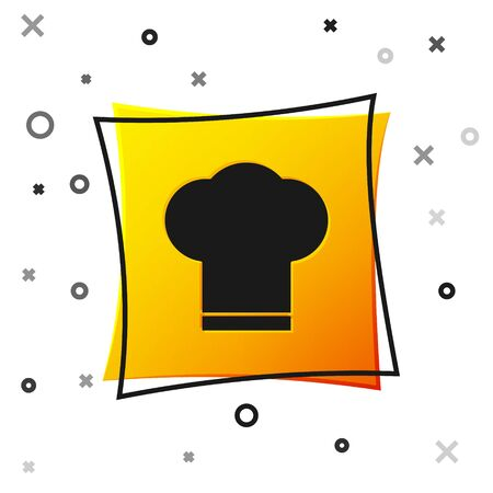 Black Chef hat icon isolated on white background. Cooking symbol. Cooks hat. Yellow square button. Vector Illustration