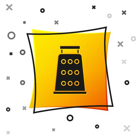 Black Grater icon isolated on white background. Kitchen symbol. Cooking utensil. Cutlery sign. Yellow square button. Vector Illustration