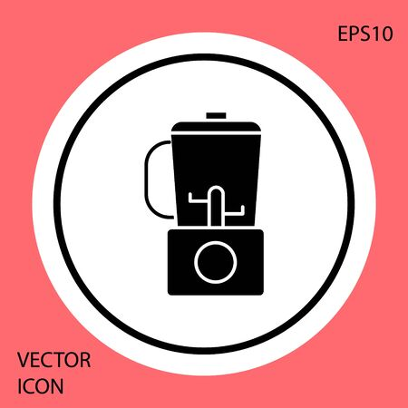 Black Blender icon isolated on red background. Kitchen electric stationary blender with bowl. Cooking smoothies, cocktail or juice. White circle button. Vector Illustration Ilustrace