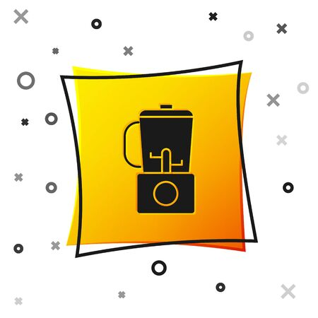 Black Blender icon isolated on white background. Kitchen electric stationary blender with bowl. Cooking smoothies, cocktail or juice. Yellow square button. Vector Illustration