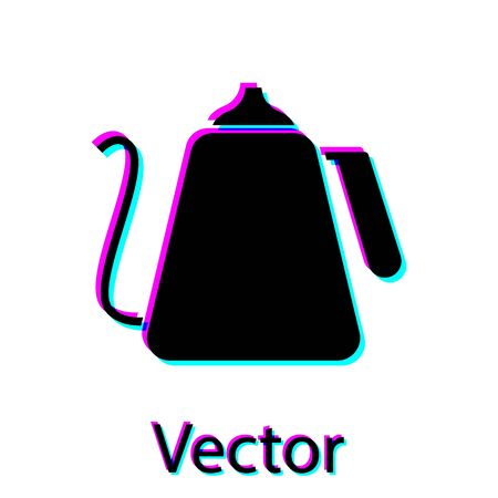 Black Kettle with handle icon isolated on white background. Teapot icon. Vector Illustration