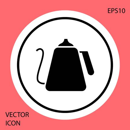 Black Kettle with handle icon isolated on red background. Teapot icon. White circle button. Vector Illustration Ilustrace