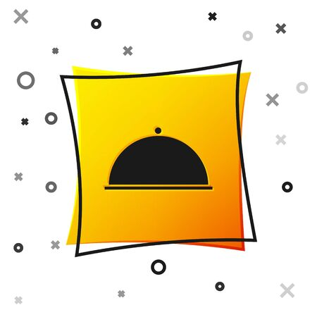 Black Covered with a tray of food icon isolated on white background. Tray and lid. Restaurant cloche with lid. Kitchenware symbol. Yellow square button. Vector Illustration