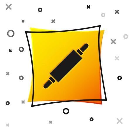 Black Rolling pin icon isolated on white background. Yellow square button. Vector Illustration