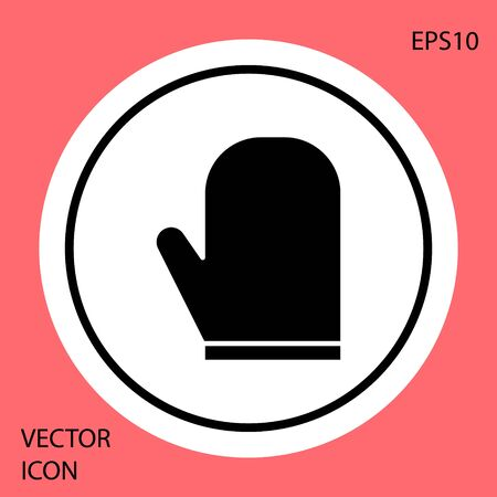 Black Oven glove icon isolated on red background. Kitchen potholder sign. Cooking glove. White circle button. Vector Illustration Ilustrace