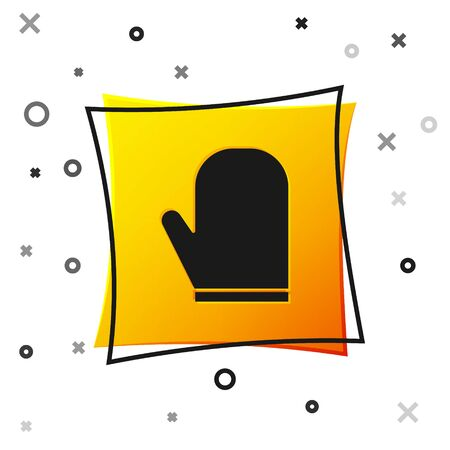 Black Oven glove icon isolated on white background. Kitchen potholder sign. Cooking glove. Yellow square button. Vector Illustration