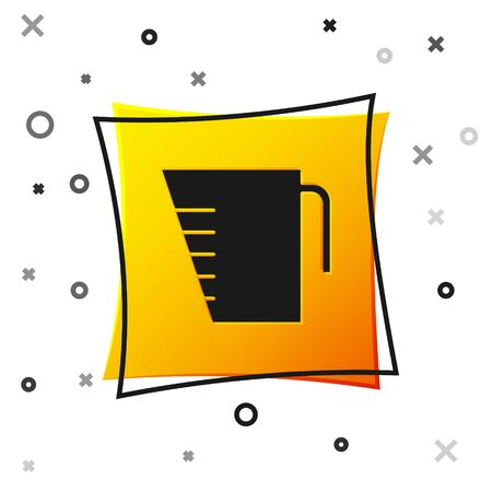 Black Measuring cup to measure dry and liquid food icon isolated on white background. Plastic graduated beaker with handle. Yellow square button. Vector Illustration