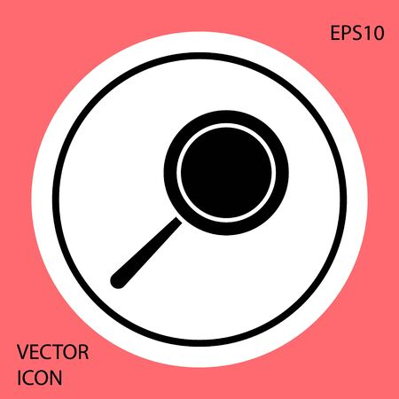 Black Frying pan icon isolated on red background. Fry or roast food symbol. White circle button. Vector Illustration