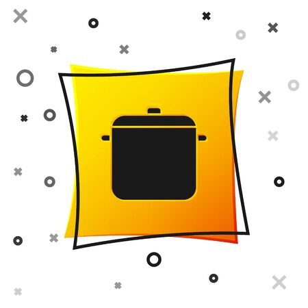 Black Cooking pot icon isolated on white background. Boil or stew food symbol. Yellow square button. Vector Illustration