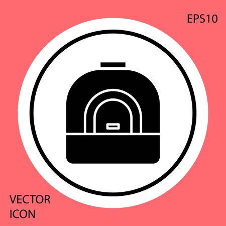 Black Oven icon isolated on red background. Stove gas oven sign. White circle button. Vector Illustration Ilustrace