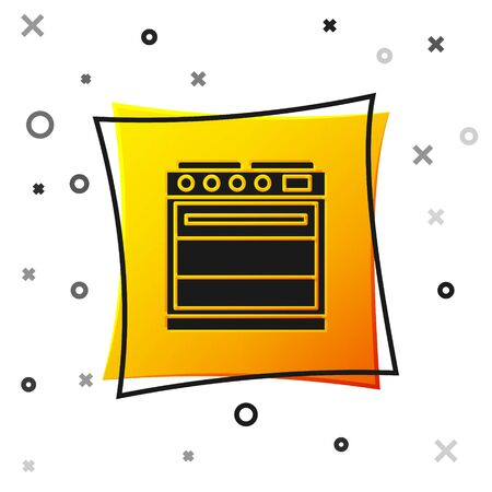 Black Oven icon isolated on white background. Stove gas oven sign. Yellow square button. Vector Illustration