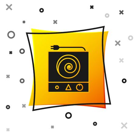 Black Electric stove icon isolated on white background. Cooktop sign. Hob with four circle burners. Yellow square button. Vector Illustration Ilustrace