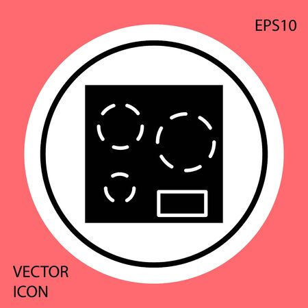 Black Electric stove icon isolated on red background. Cooktop sign. Hob with four circle burners. White circle button. Vector Illustration