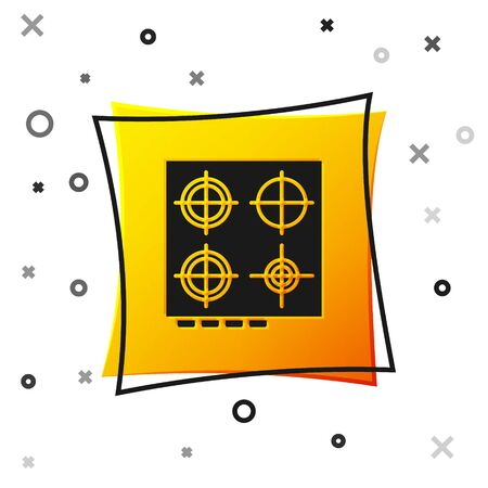 Black Gas stove icon isolated on white background. Cooktop sign. Hob with four circle burners. Yellow square button. Vector Illustration
