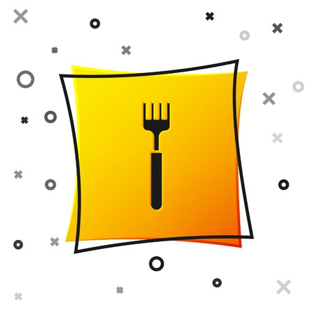 Black Fork icon isolated on white background. Cutlery symbol. Yellow square button. Vector Illustration