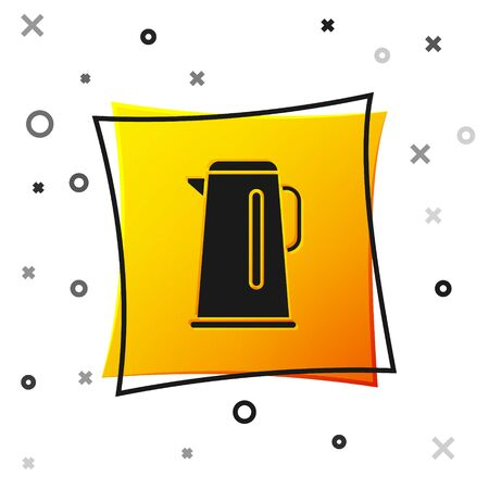 Black Kettle with handle icon isolated on white background. Teapot icon. Yellow square button. Vector Illustration