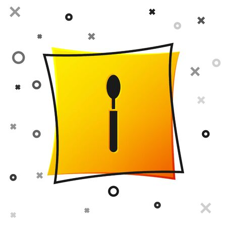 Black Spoon icon isolated on white background. Cooking utensil. Cutlery sign. Yellow square button. Vector Illustration