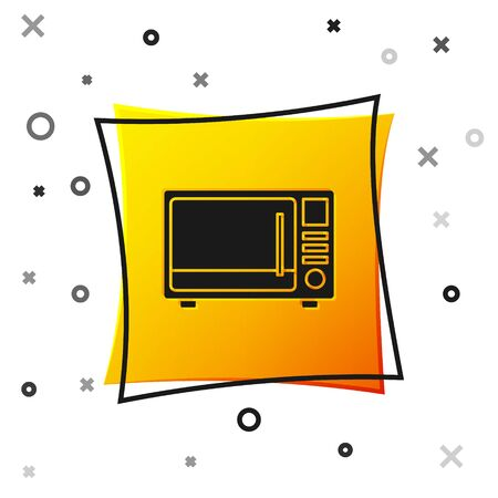 Black Microwave oven icon isolated on white background. Home appliances icon. Yellow square button. Vector Illustration Ilustrace