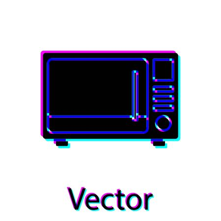 Black Microwave oven icon isolated on white background. Home appliances icon. Vector Illustration Ilustrace