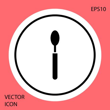 Black Spoon icon isolated on red background. Cooking utensil. Cutlery sign. White circle button. Vector Illustration
