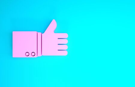Pink Hand thumb up icon isolated on blue background. Minimalism concept. 3d illustration 3D render Stockfoto