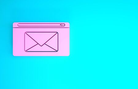 Pink Mail and e-mail icon isolated on blue background. Envelope symbol e-mail. Email message sign. Minimalism concept. 3d illustration 3D render 版權商用圖片