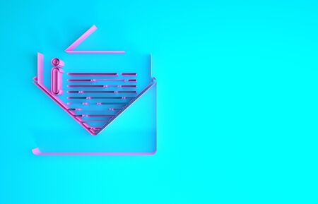 Pink Envelope icon isolated on blue background. Email message letter symbol. Minimalism concept. 3d illustration 3D render