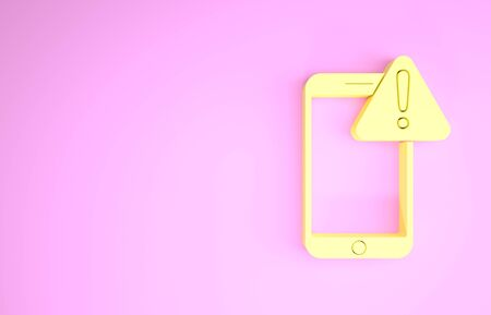 Yellow Mobile phone with exclamation mark icon isolated on pink background. Alert message smartphone notification. Minimalism concept. 3d illustration 3D render 版權商用圖片