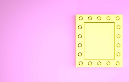 Yellow Makeup mirror with lights icon isolated on pink background. Minimalism concept. 3d illustration 3D render