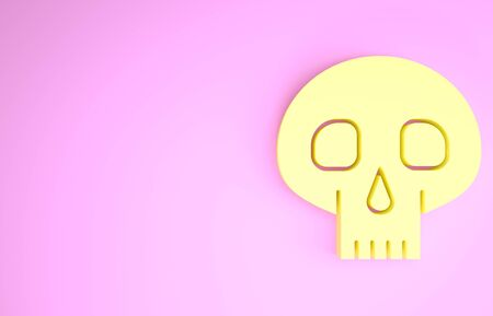 Yellow Skull icon isolated on pink background. Minimalism concept. 3d illustration 3D render