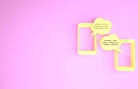 Yellow New chat messages notification on phone icon isolated on pink background. Smartphone chatting sms messages speech bubbles. Minimalism concept. 3d illustration 3D render
