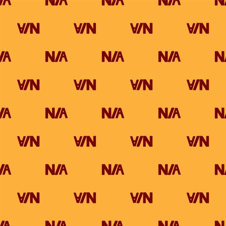 Red Not applicable icon isolated seamless pattern on brown background. Vector Illustration