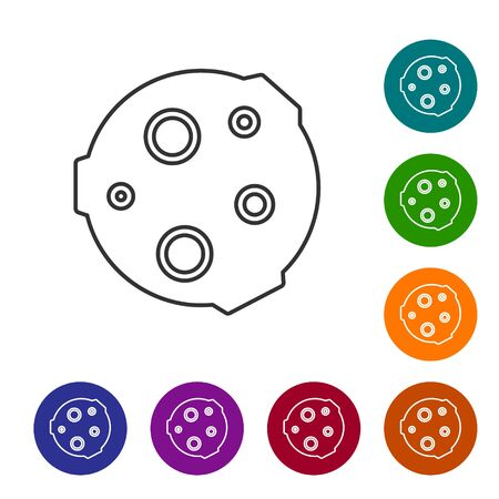 Black line Moon icon isolated on white background. Set icons in color circle buttons. Vector Illustration 向量圖像