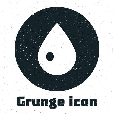 Grunge Water drop icon isolated on white background. Monochrome vintage drawing. Vector Illustration