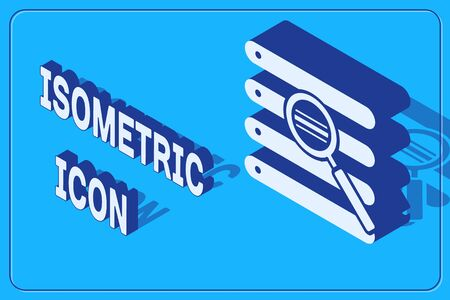 Isometric Search in a browser window icon isolated on blue background. Vector Illustration Illustration