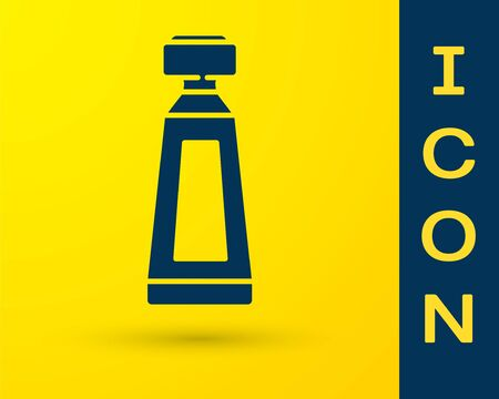 Blue Cream or lotion cosmetic tube icon isolated on yellow background. Body care products for men. Vector Illustration
