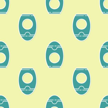 Green Bottle of shampoo icon isolated seamless pattern on yellow background. Vector Illustration