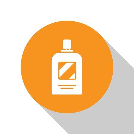 White Bottle of shampoo icon isolated on white background. Orange circle button. Vector Illustration 向量圖像