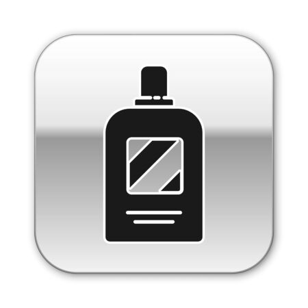 Black Bottle of shampoo icon isolated on white background. Silver square button. Vector Illustration