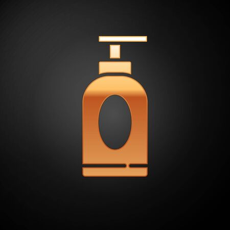 Gold Cream or lotion cosmetic tube icon isolated on black background. Body care products for men. Vector Illustration 向量圖像