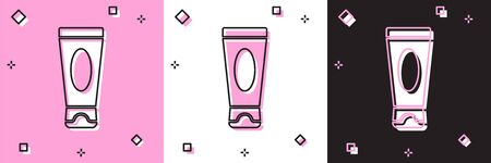 Set Cream or lotion cosmetic tube icon isolated on pink and white, black background. Body care products for men. Vector Illustration 向量圖像