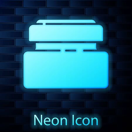 Glowing neon Cream or lotion cosmetic tube icon isolated on brick wall background. Body care products for men. Vector Illustration
